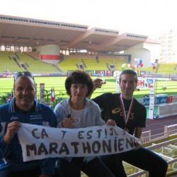 Frédérique et Serge Nouveaux Marathoniens avec Christian (Monaco 2006)