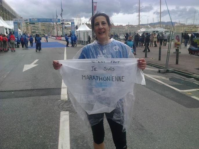 Noelle à l'arrivée de son 1er Marathon