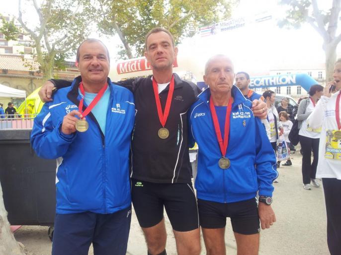 Marathon Montpellier 2012 : Christian G, Laurent et Christian A